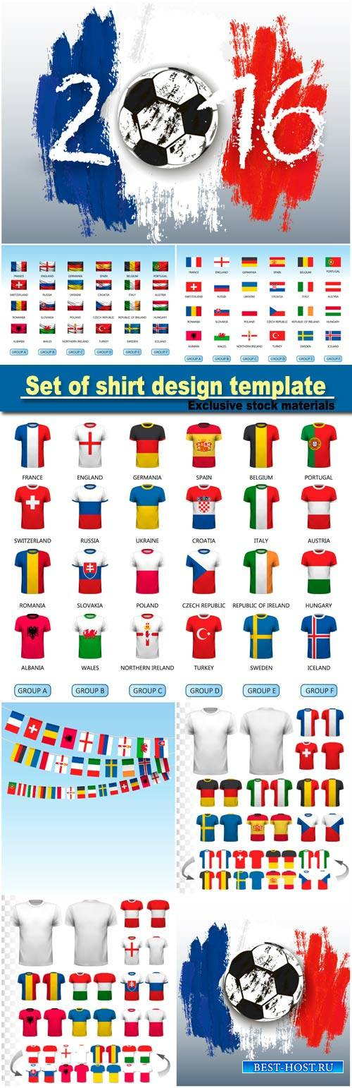 Set of shirt design template, set of flags