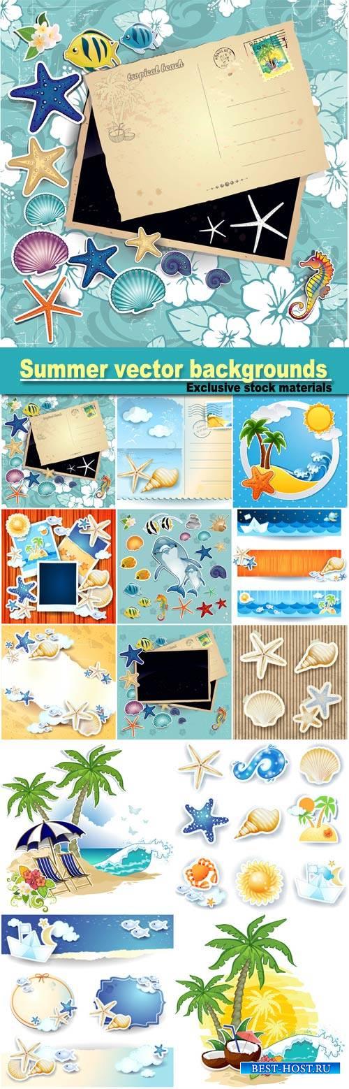 Summer vector backgrounds, scrapbooking sea