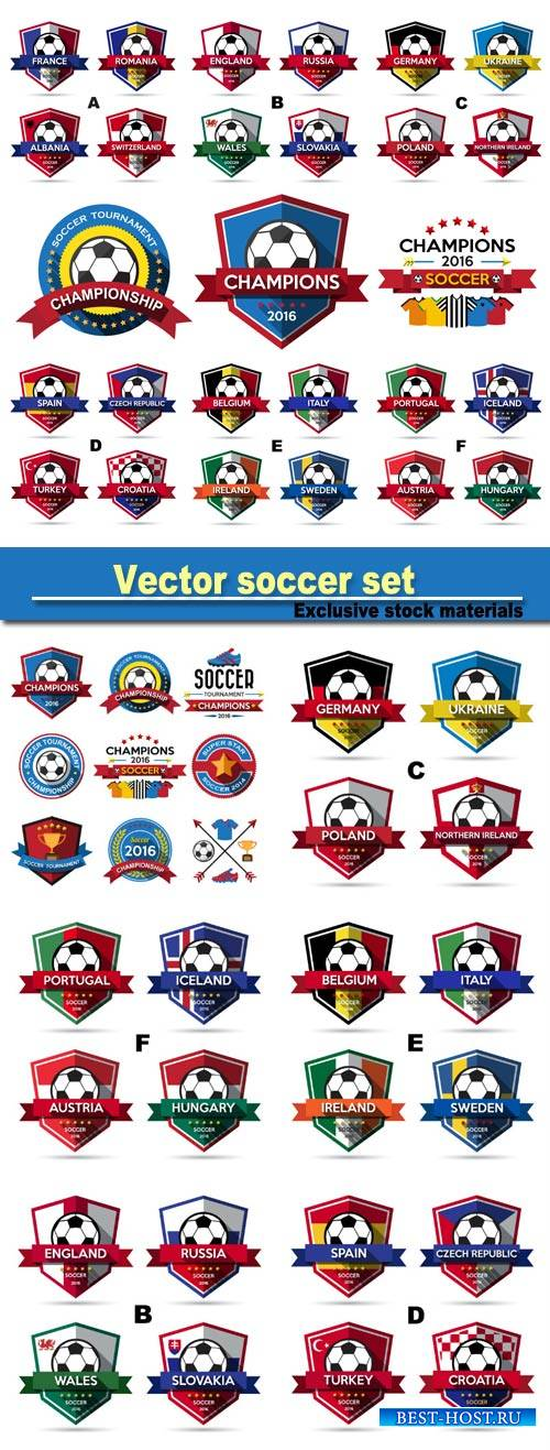 Vector soccer set, labels, logos