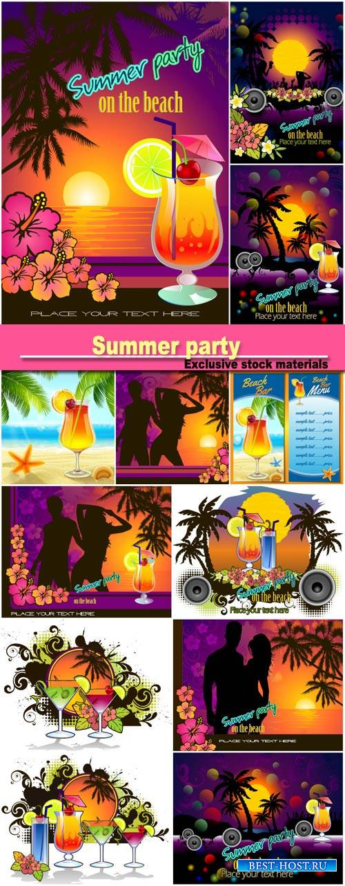 Summer party, vector background with cocktails