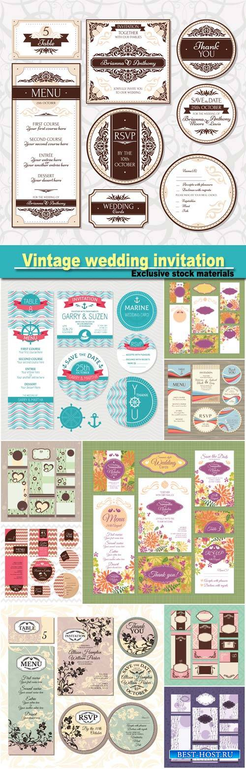 Vintage wedding invitation, vector cards