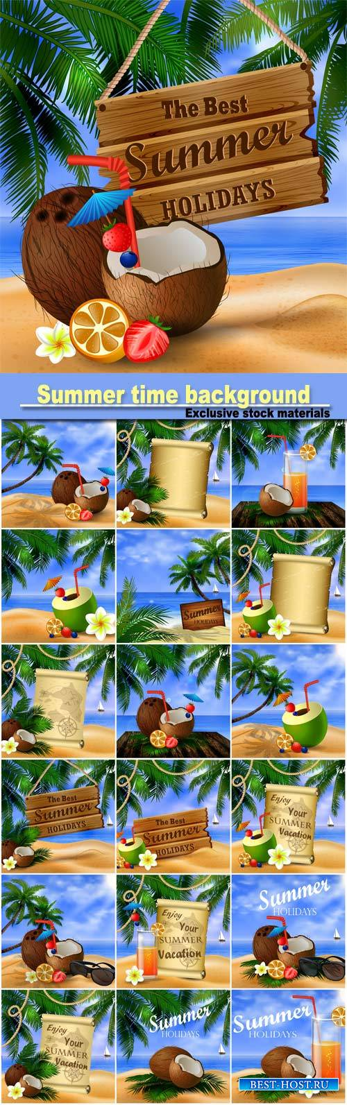 Summer time background with sea views, cocktails