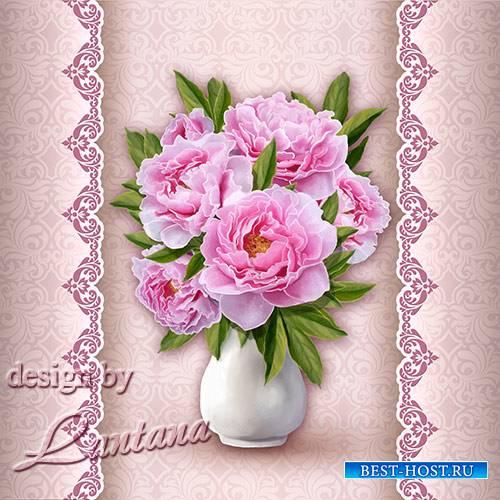 PSD исходник - Букет из розовых пионов