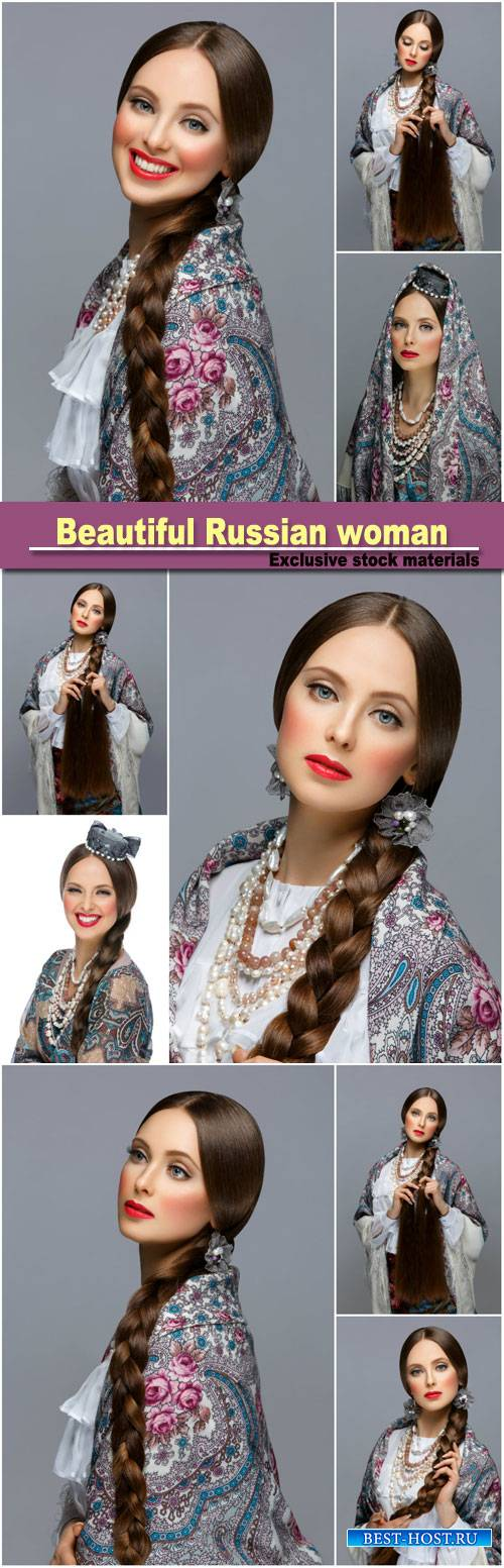Beautiful Russian woman with a long braid