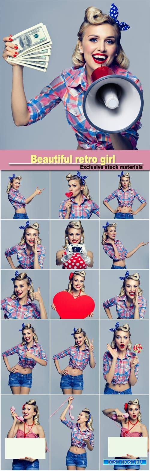 Beautiful retro girl in different images