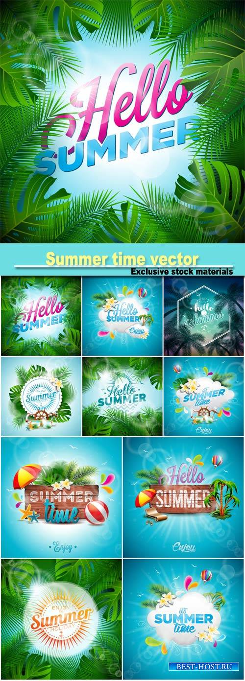 Summer time, vector backgrounds with marine elements