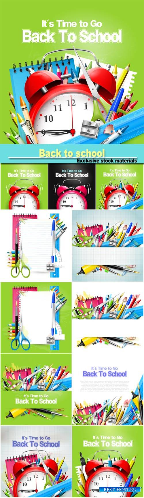Back to school background, books, notebooks, pens, pencils