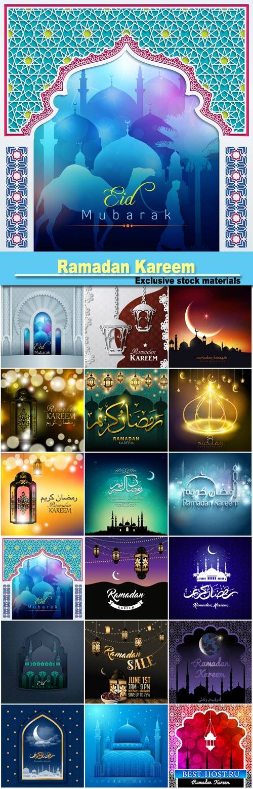 Ramadan Kareem, Muslim holiday, backgrounds vector