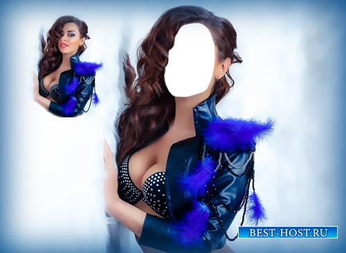 Фото шаблон - Красавица в синем