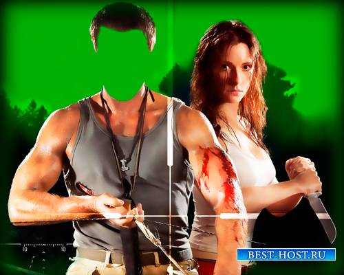 Мужской фото шаблон - Лучник с девушкой