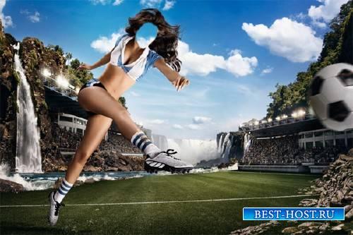 Шаблон для фотошопа - Шикарная футболистка