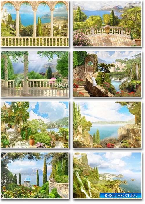Фоны – Морские пейзажи и колоны в цветах