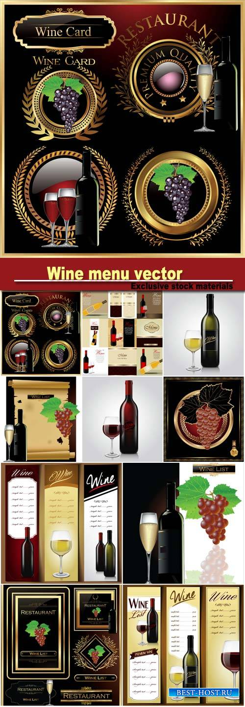 Wine menu vector, premium labels