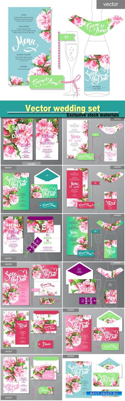 Vector wedding set, wedding menu
