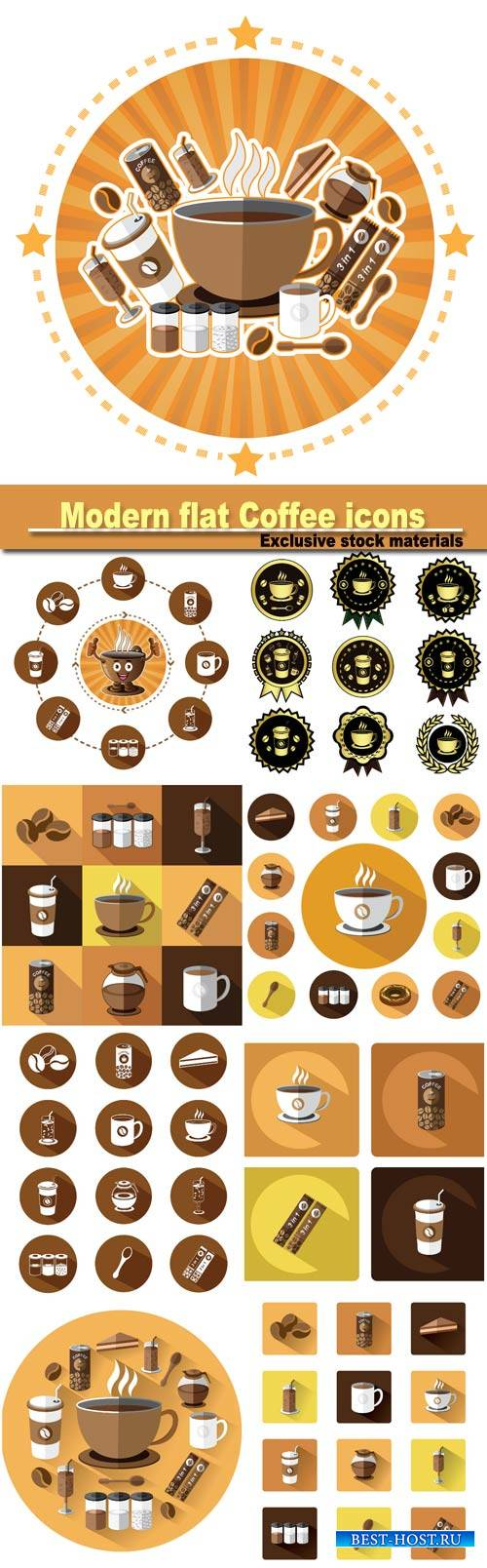 Modern flat Coffee icons set with long shadow effect