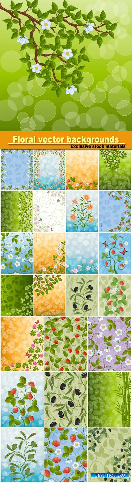 Vector background with flowers and berries
