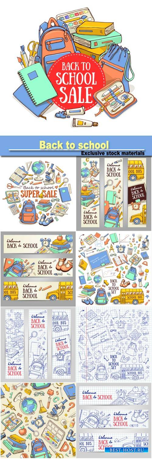 Back to school, vector banners and backgrounds
