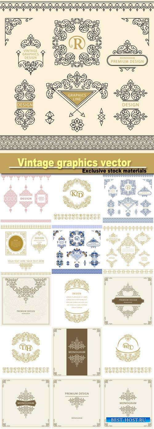 Vintage graphics, vector monogram