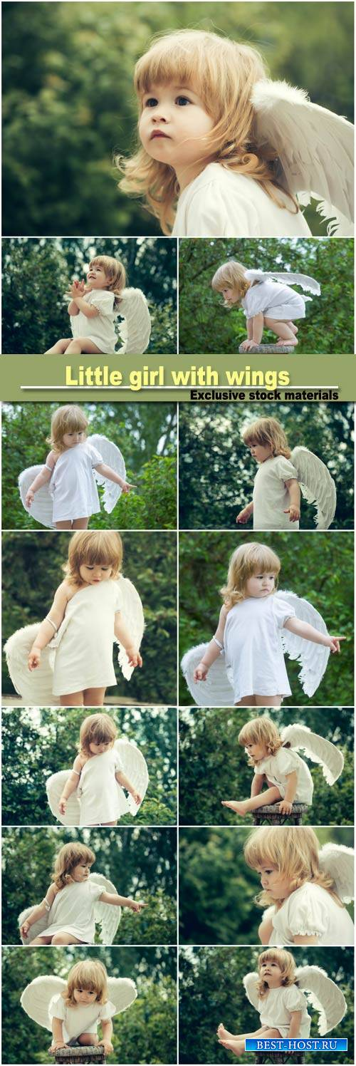 Little girl with wings of an angel