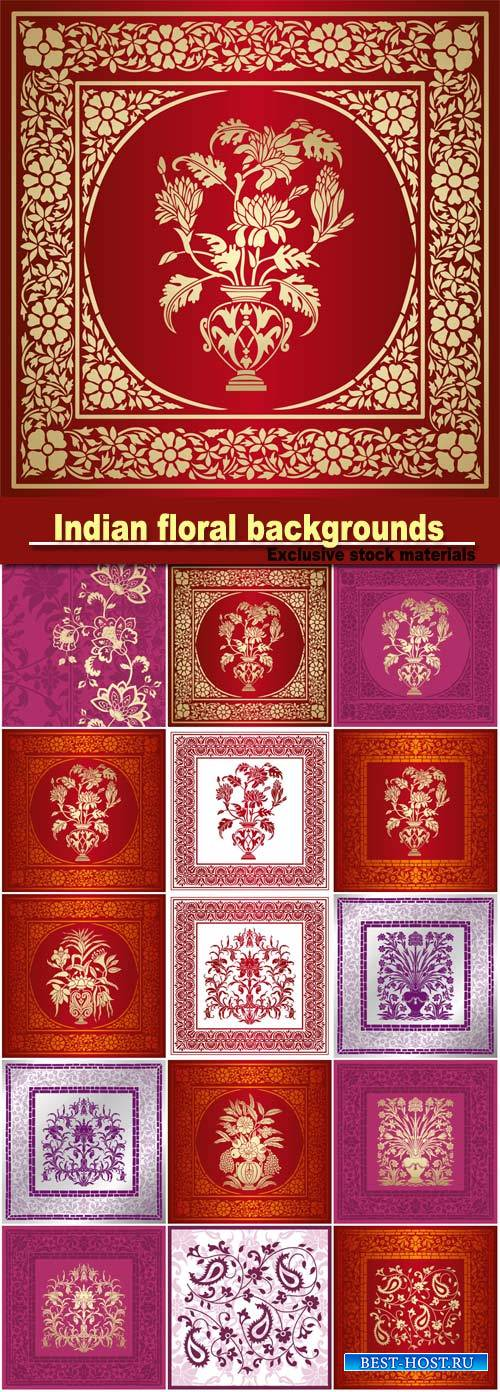 Indian floral backgrounds vector