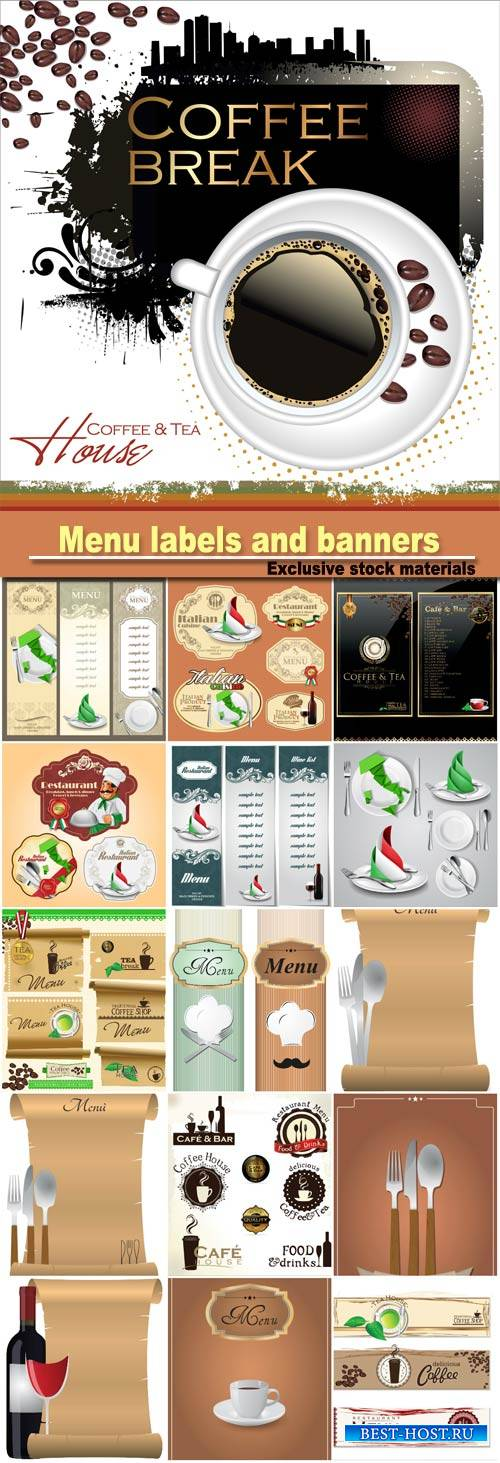 Menu labels and banners vector