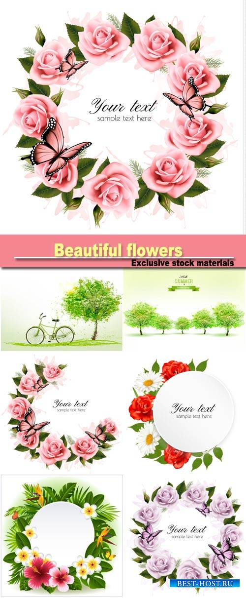 Holiday background with beautiful flowers and pink butterflies