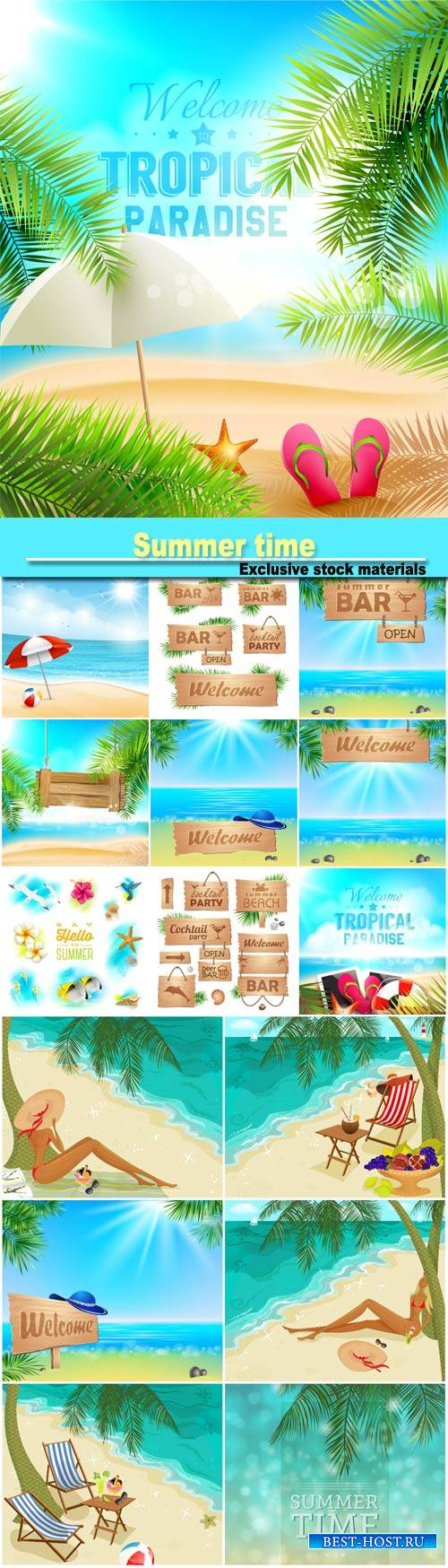 Summer time, tropical backgrounds vector