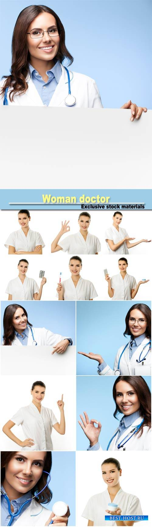 Woman doctor in different positions