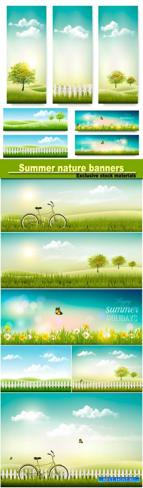 Summer nature banners with green trees and sun