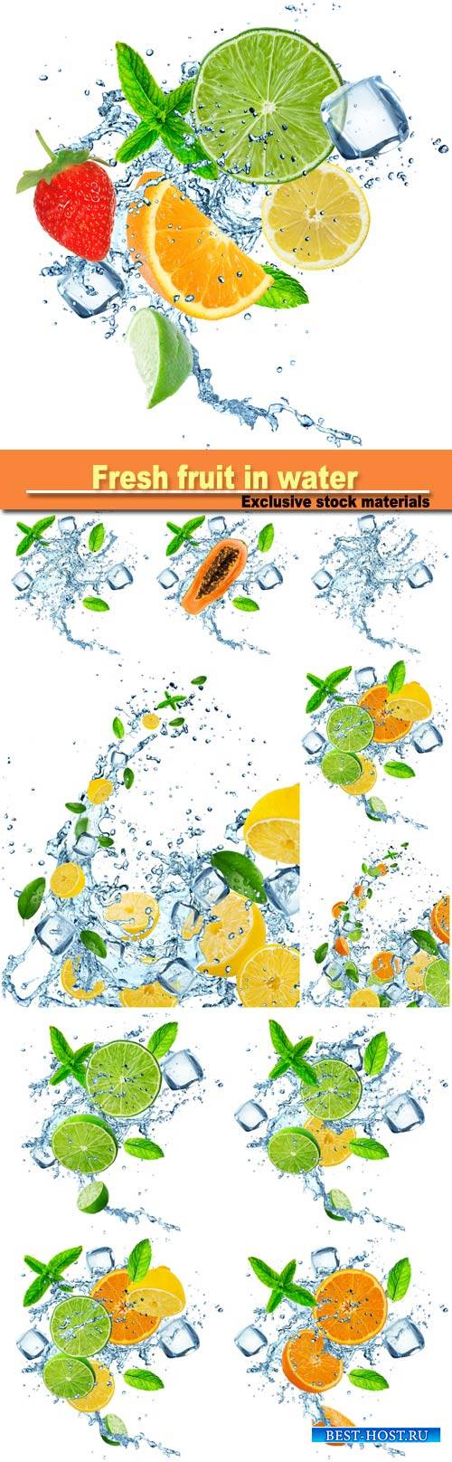 Fresh fruit in water splash over white