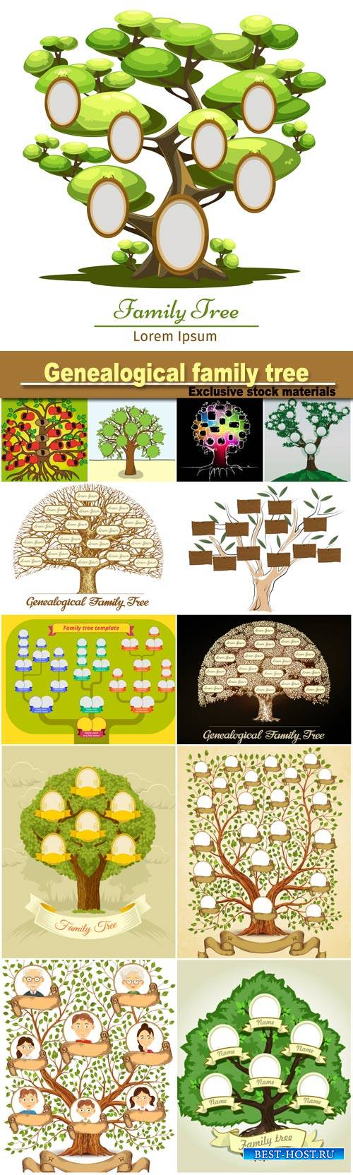 Vintage genealogical family tree, hand drawn sketch vector illustration