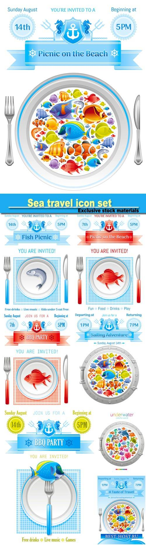 Sea travel icon set with underwater diving animals, dolphin, killer whale,  ...