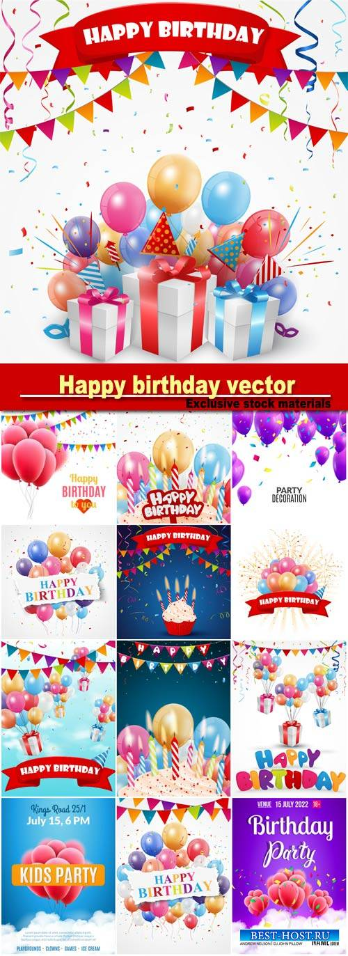Happy birthday, vector posters