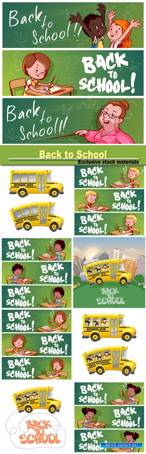 Back to School, vector backgrounds and banners