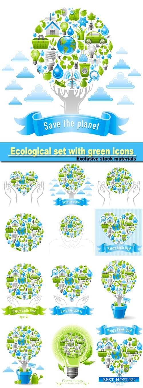 Ecological set with green icons on white background for environment protect ...