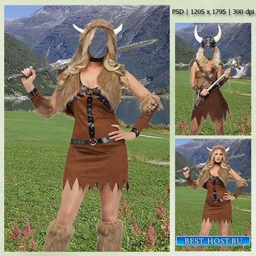 Женский фотошаблон - В костюме девушки-викинга
