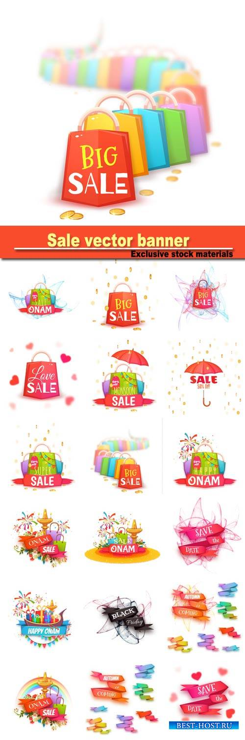 Sale banner with color packet and coins, vector illustration