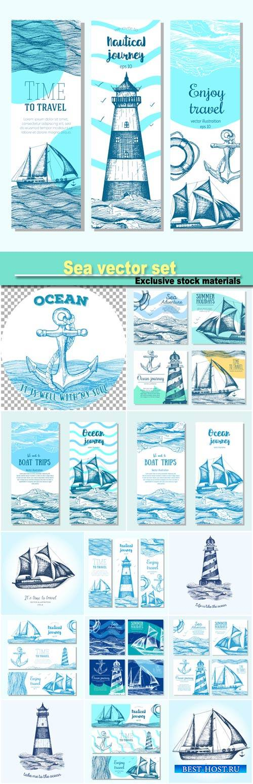 Sea set, nautical elements banner collection, vector illustration