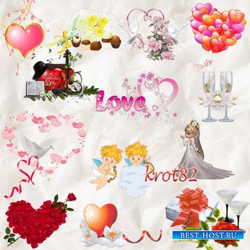 Клипарт PNG – Любовь, кольца, сердечки, цветы, ангелы, свадебные бокалы