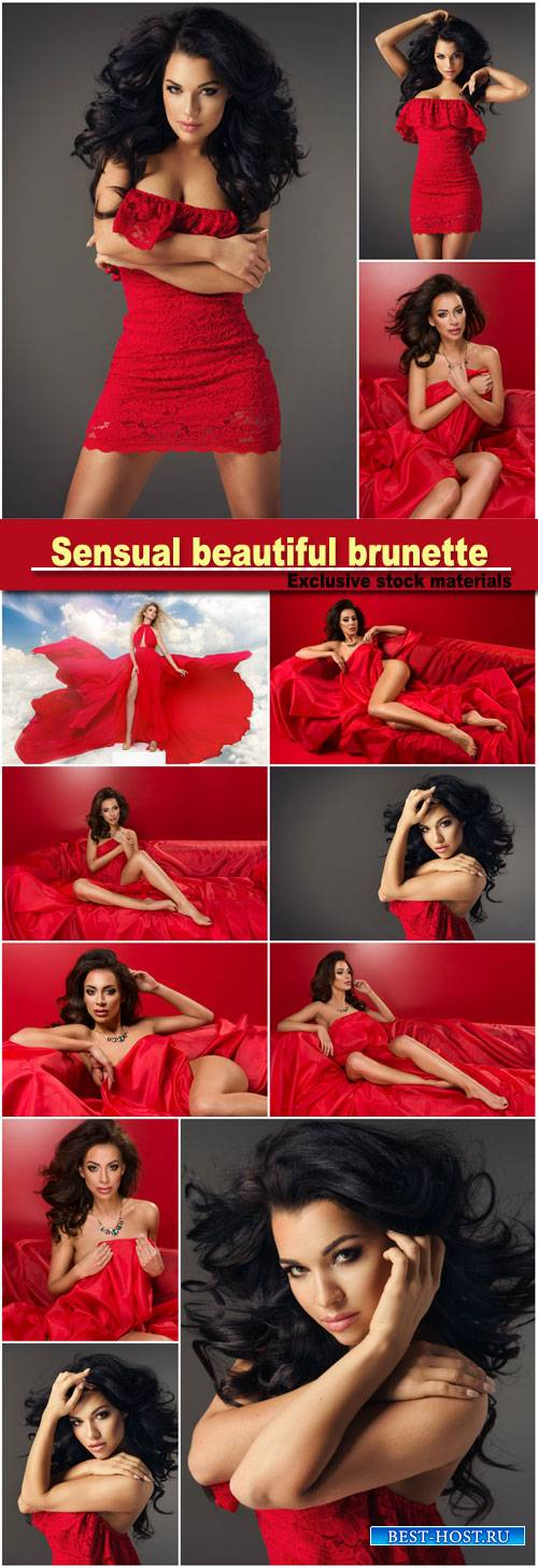 Sensual beautiful brunette woman posing in red dress, girl with long curly  ...