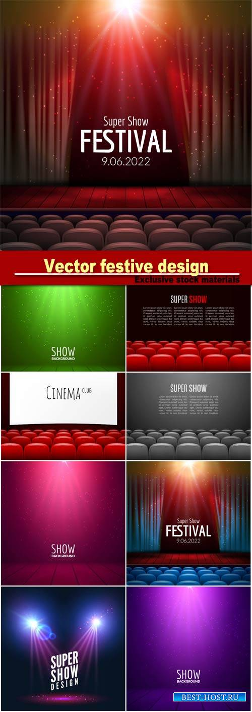 Vector festive design with lights and wooden scene and seats, poster for co ...