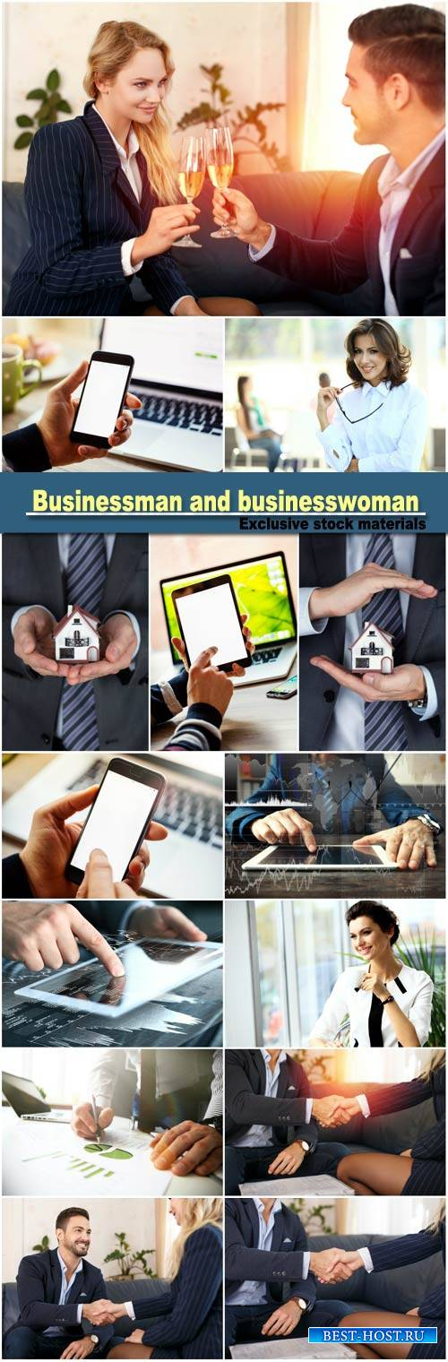 Businessman handshake with businesswoman
