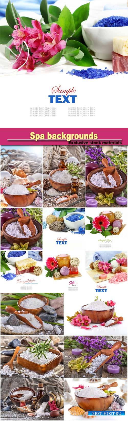 Spa backgrounds, salt bath in wooden spoon with flowers and  leaves in back ...