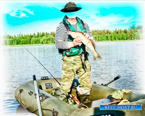 Template - Рыбак в надувной лодке