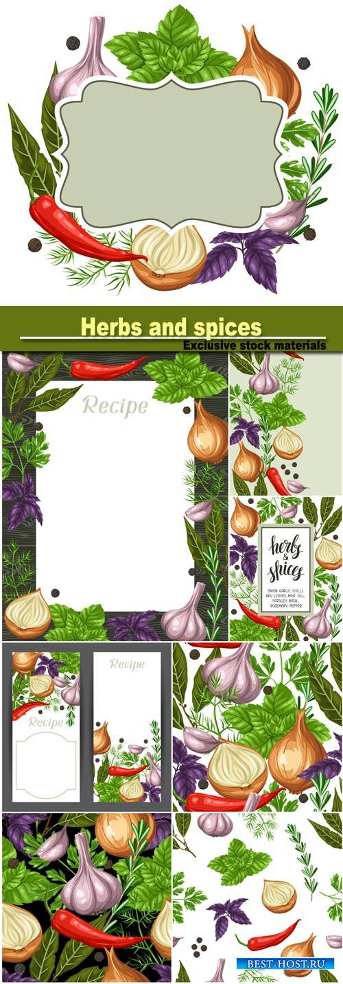 design with various herbs and spices