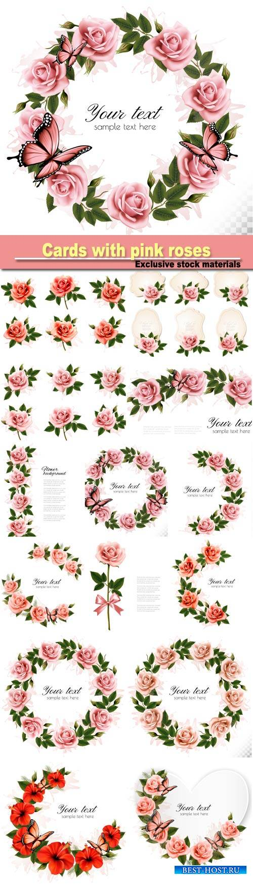 Collection of retro greeting cards with pink roses
