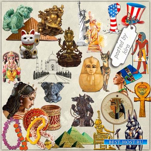 Клипарт туристический - Страны: Индия, Египет, Вьетнам, США