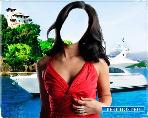 Шаблон - Девушка у яхты