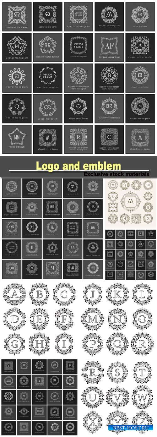 Monogram sign logo and emblem badge collection, ornate background, luxury e ...