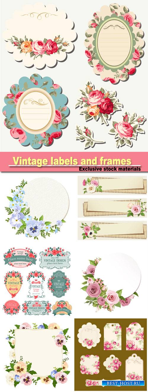 Vintage labels and with flowers